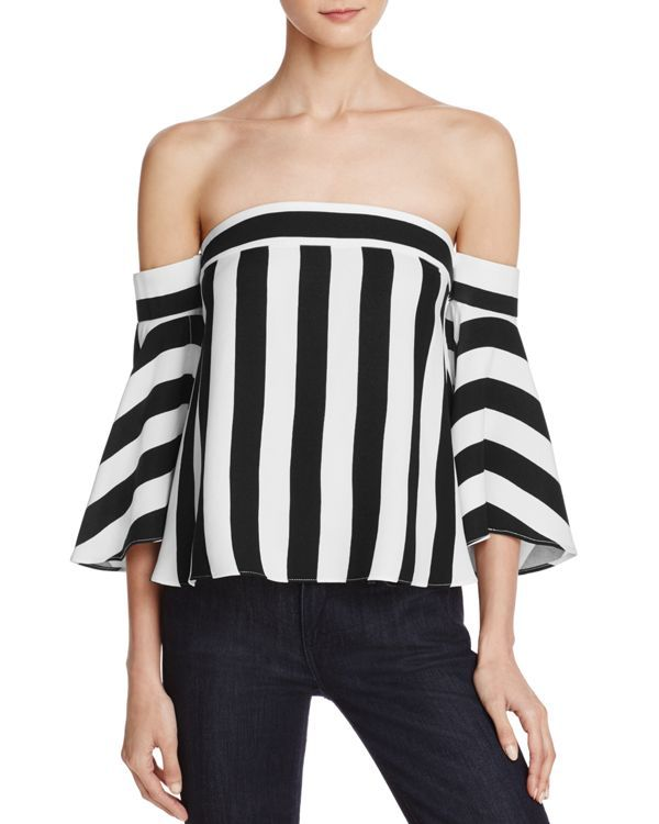 989f0738eefae8 MILLY Off-The-Shoulder Striped Rosa Top