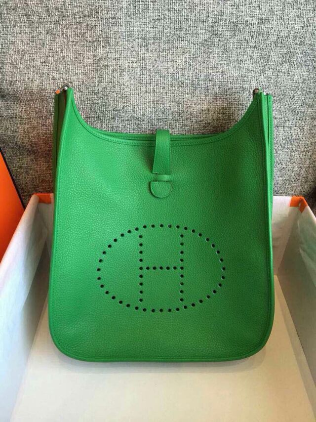 Spring Summer 2017 Hermes Cruise Outlet Evelyne Bag In Green Togo Leather