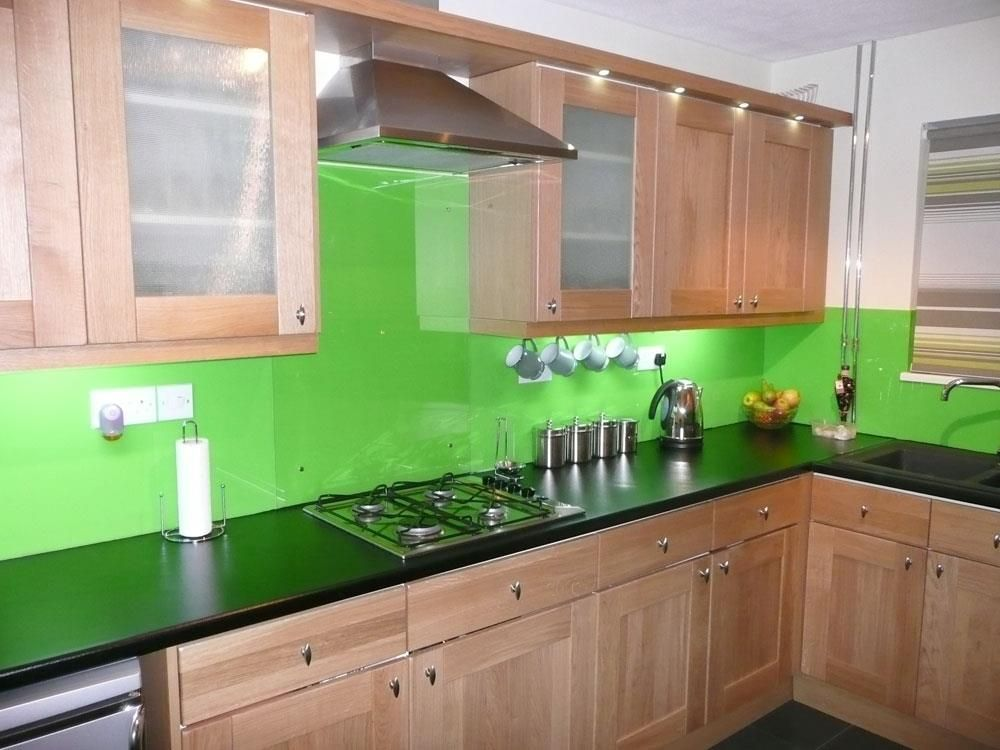 Green Glossy Acrylic Kitchen Splashback Acrylic Kitchen