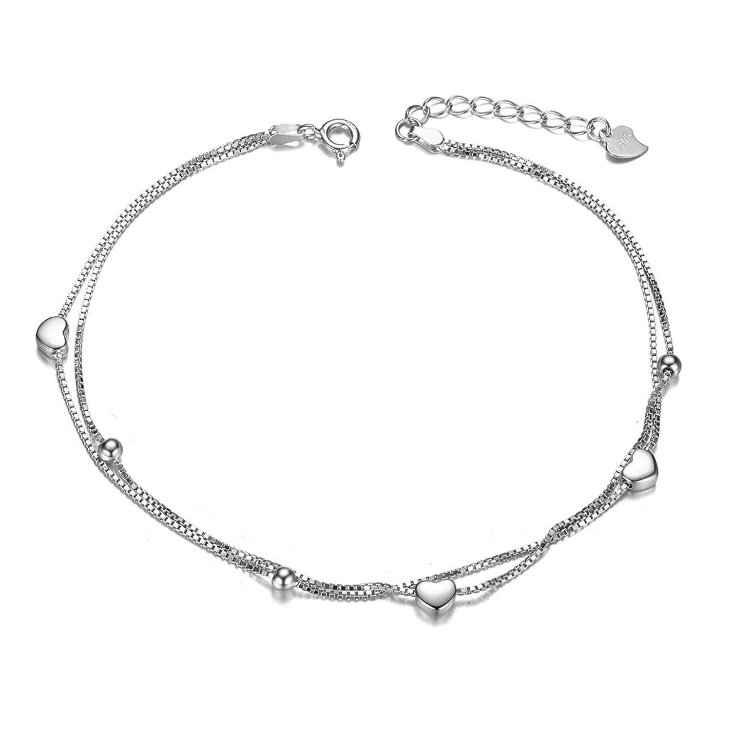 SHEGRACE 925 Sterling Silver Anklet with Triple Layered Chain and Beads Platinum for Woman uL0WhyI
