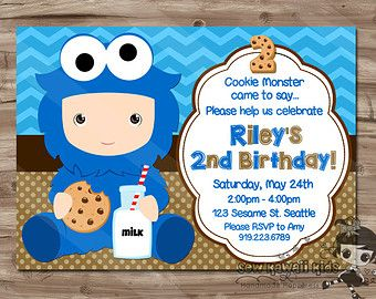 Free Cookie Monster Invitation Template Google Search
