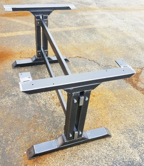 Stylish Dining Table Legs, Industrial Kitchen Table Legs with 2 Braces Heavy Duty steel tubing legs. 28 H x 28 W This listing is for set of 2 Steel Tubing Legs and 2 Braces 43 long. Total L - 49 - Made from Steel Tubing - 3 x 2 x 14 ga wall, Tubing 3 x 1 1/2, Tubing 3 x 1 and Square Tubing 2 x 2 - Legs are predrilled. - Finish - Raw steel, Clear coated, Black flat.