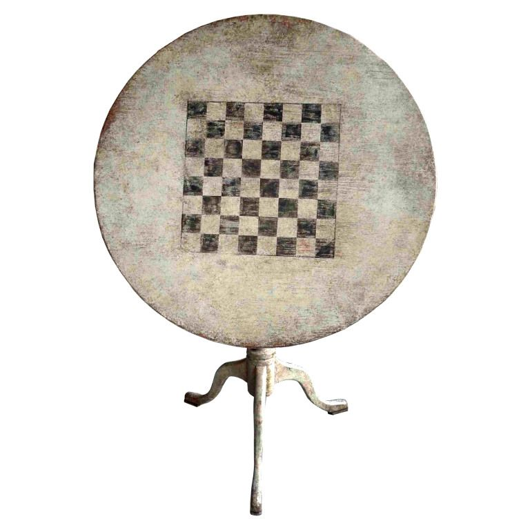 1stdibs   Tilt Top Table With Painted Chess Game Explore Items From 1,700  Global Dealers At 1stdibs.com