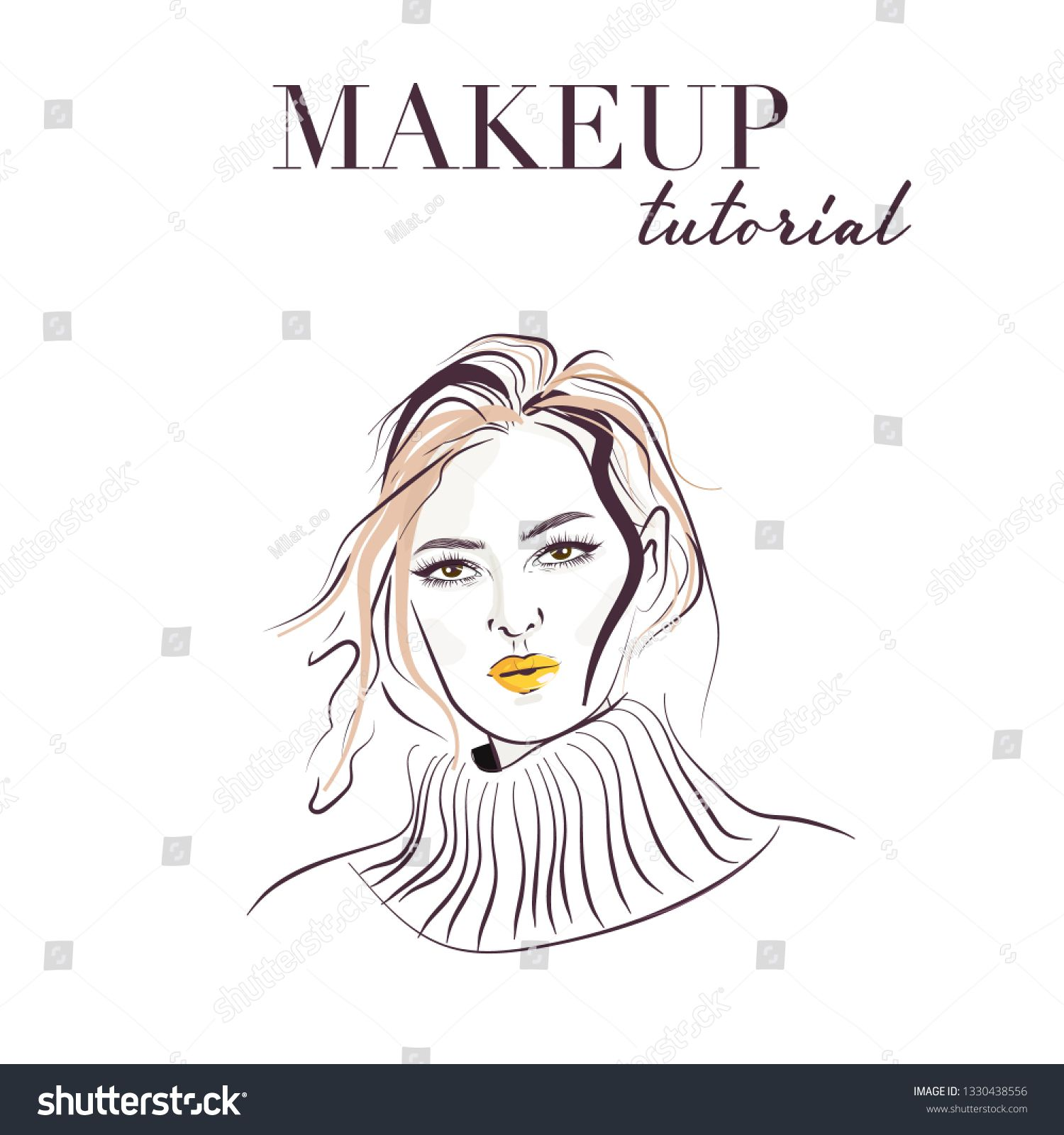 Woman face hand drawn. Makeup model face vector sketch. Young woman with bright lips illustration. Portrait with beautiful young attractive girl model. Fashion, style, beauty. Graphic, sketch drawing #Sponsored , #Sponsored, #sketch#vector#Young#bright