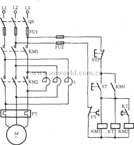 As shown in the diagram, thecircuituses time relay KTto