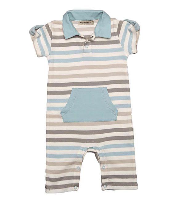 40e5c4cebd0 Brown   Blue Stripe Organic Pima Romper - Infant