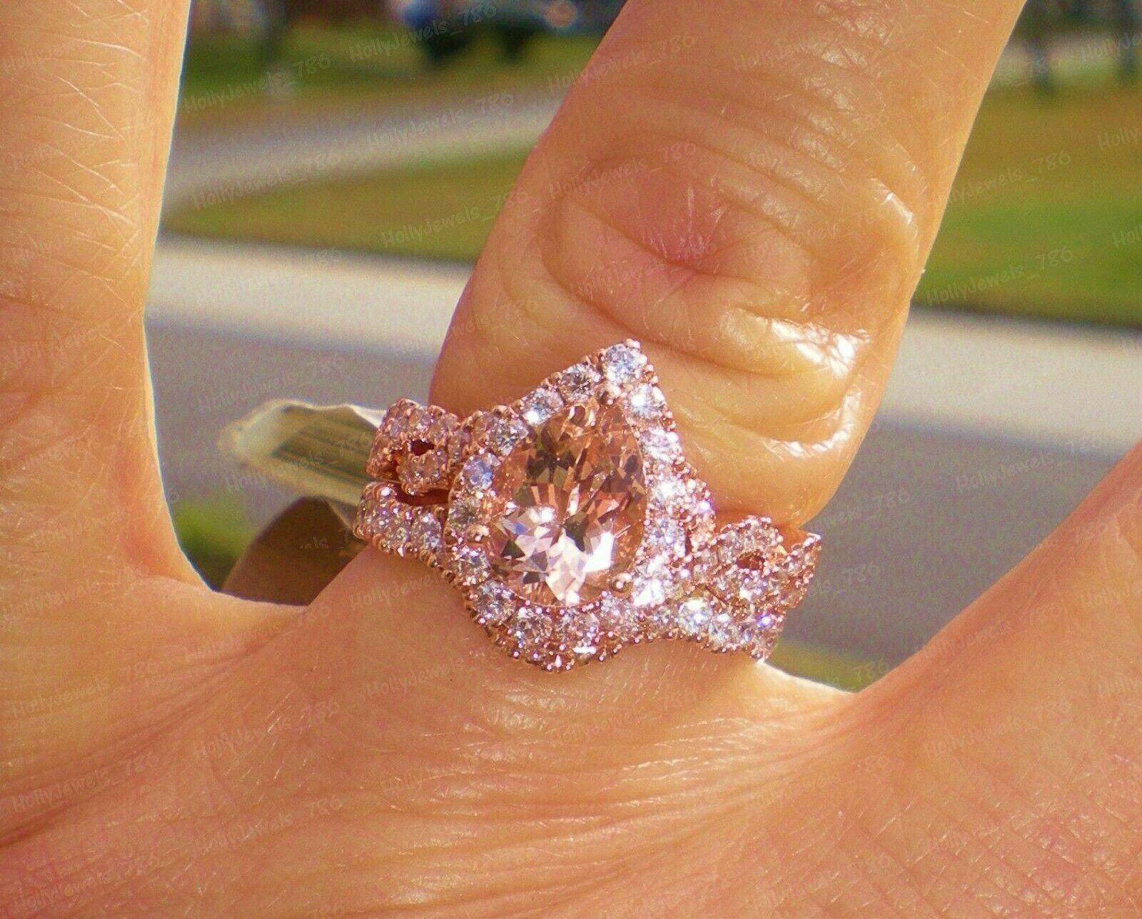 14K White Gold 2.85CT Marquise Cut Diamond Engagement /& Wedding Trio Ring Set
