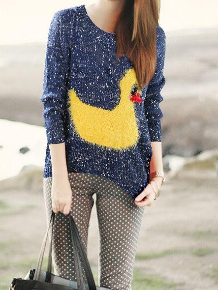 Cute Yellow Duck Pattern Blue Round Neck Sweater