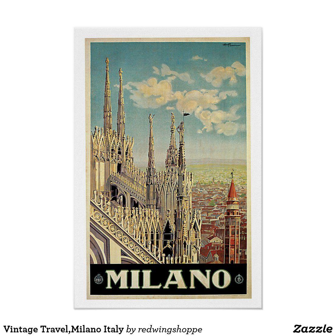 Vintage Travel,Milano Italy Poster #Milano #Italy #Travel #Posters