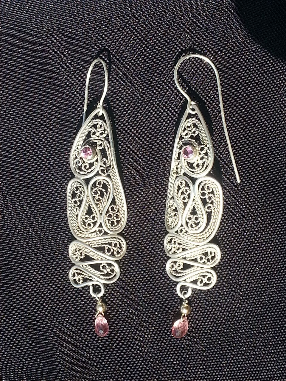 Sterling silver ruby and tourmaline filigree drama earrings