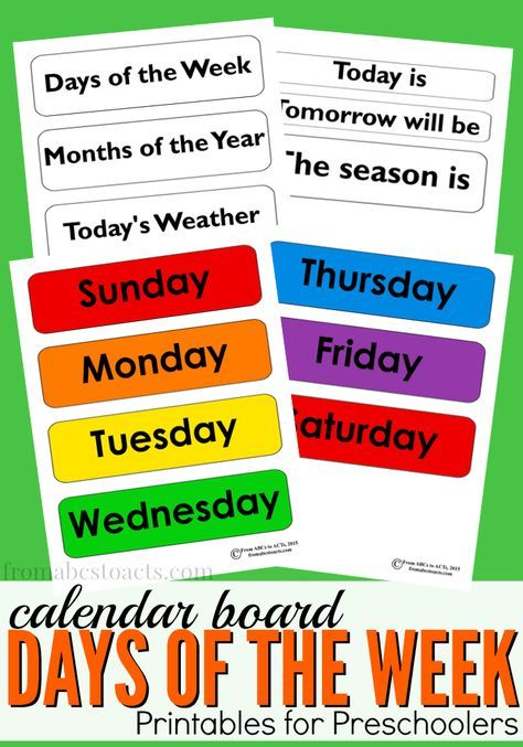 Days of the Week Calendar Board Printable Preschool calendar