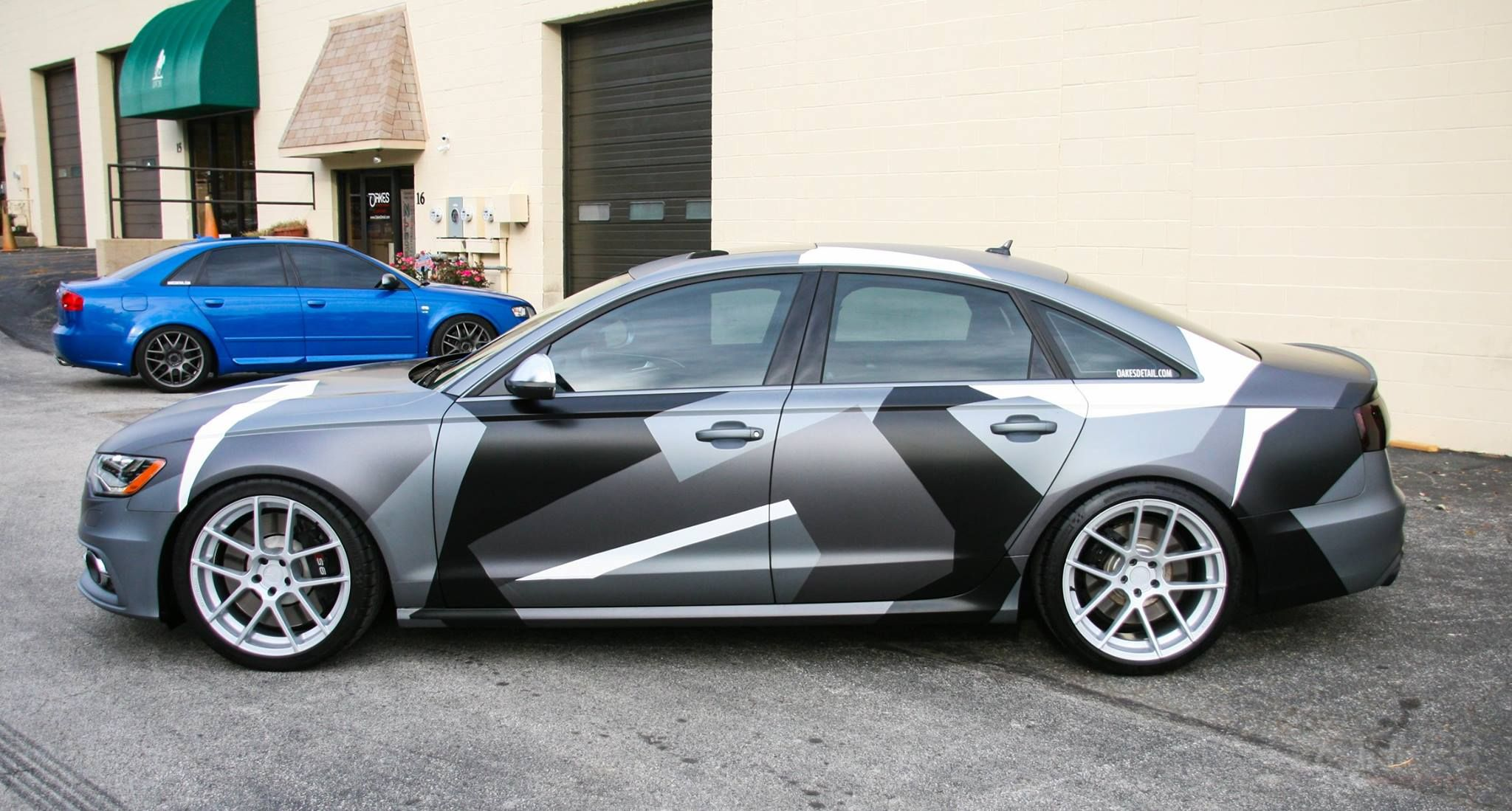 Oakesdetail Com Services Vinyl Wrap 2013 Audi S6 In Metallic Black Wrapped In Matte Gray And Custom Digital Snow Camo Wra Camo Wraps Vinyl Wrap Camo Truck