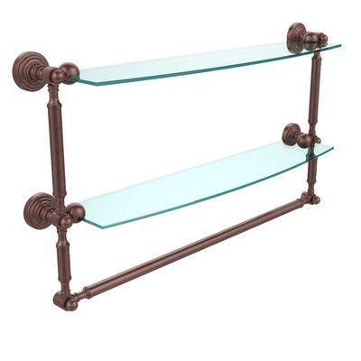 "Allied Brass Retro Wave Place Double Bathroom Shelf Finish: Antique Copper, Length: 24"""