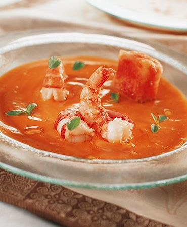 Cold soup with tomato bread and prawns