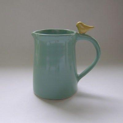 Ceramic Creamer, Pitcher, Jug with Bird by whitneysmith on Etsy https://www.etsy.com/listing/70837801/ceramic-creamer-pitcher-jug-with-bird