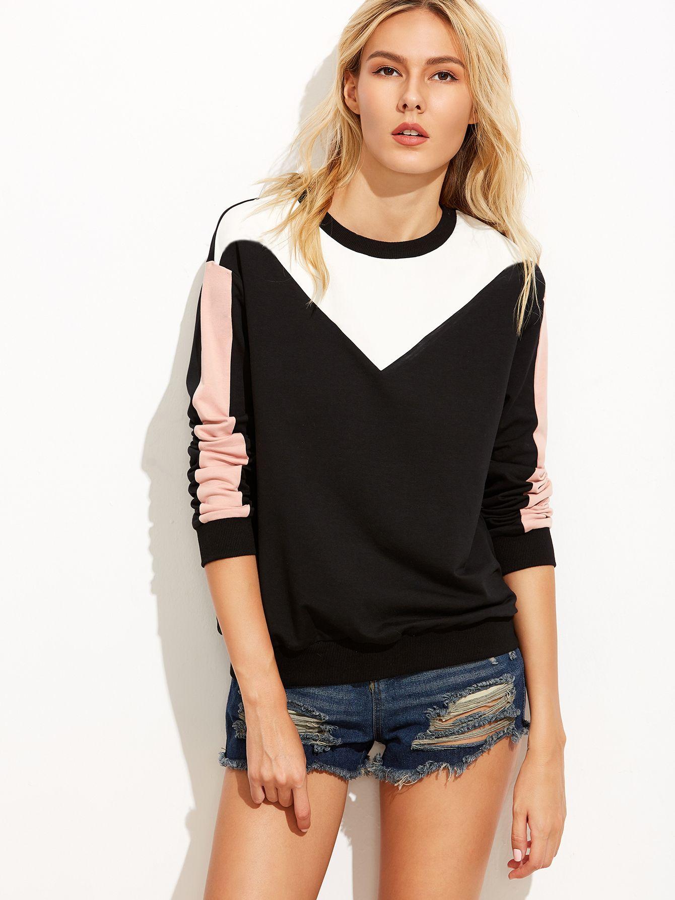 Color Block Drop Shoulder Sweatshirt — 0.00 € -------------------color: Black size: L,M,S,XS