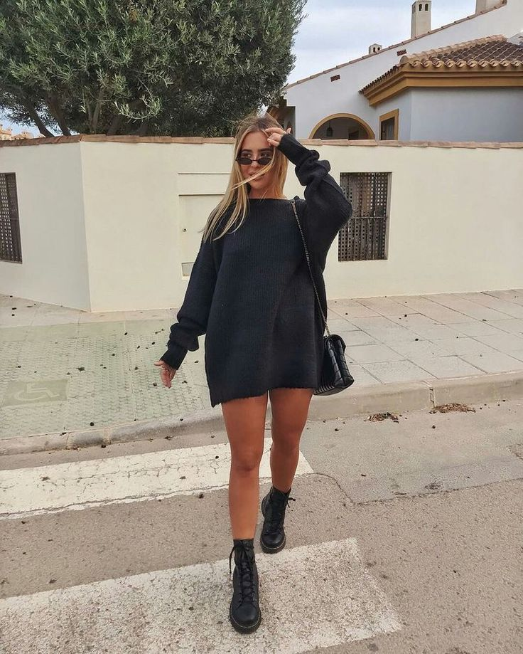 Woman All Black Outfits #woman #fashionoutfits #blackoutfit #fashiontrends #fashion #dressesforwomen #blackfashionblogger #blackfashion #fashiontrends2019 #sweaterdressoutfit