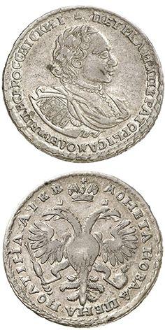 N T 1 2 Rubel Poltina 1722 Monety Marki Istoriya