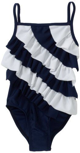 Amazon Com Flapdoodles Toddler Girls Nautical Ruffle One Piece Suit