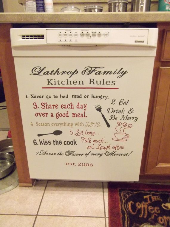 Personalized Kitchen Rules Vinyl Decor Wall by GirlyMommaDesigns, $24.00 #kitchenrules