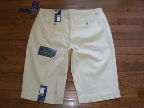 NEW! WOMENS 16 BANDOLINO stretchy CHINO-style LONG-LENGTH SHORTS flattering NWT!