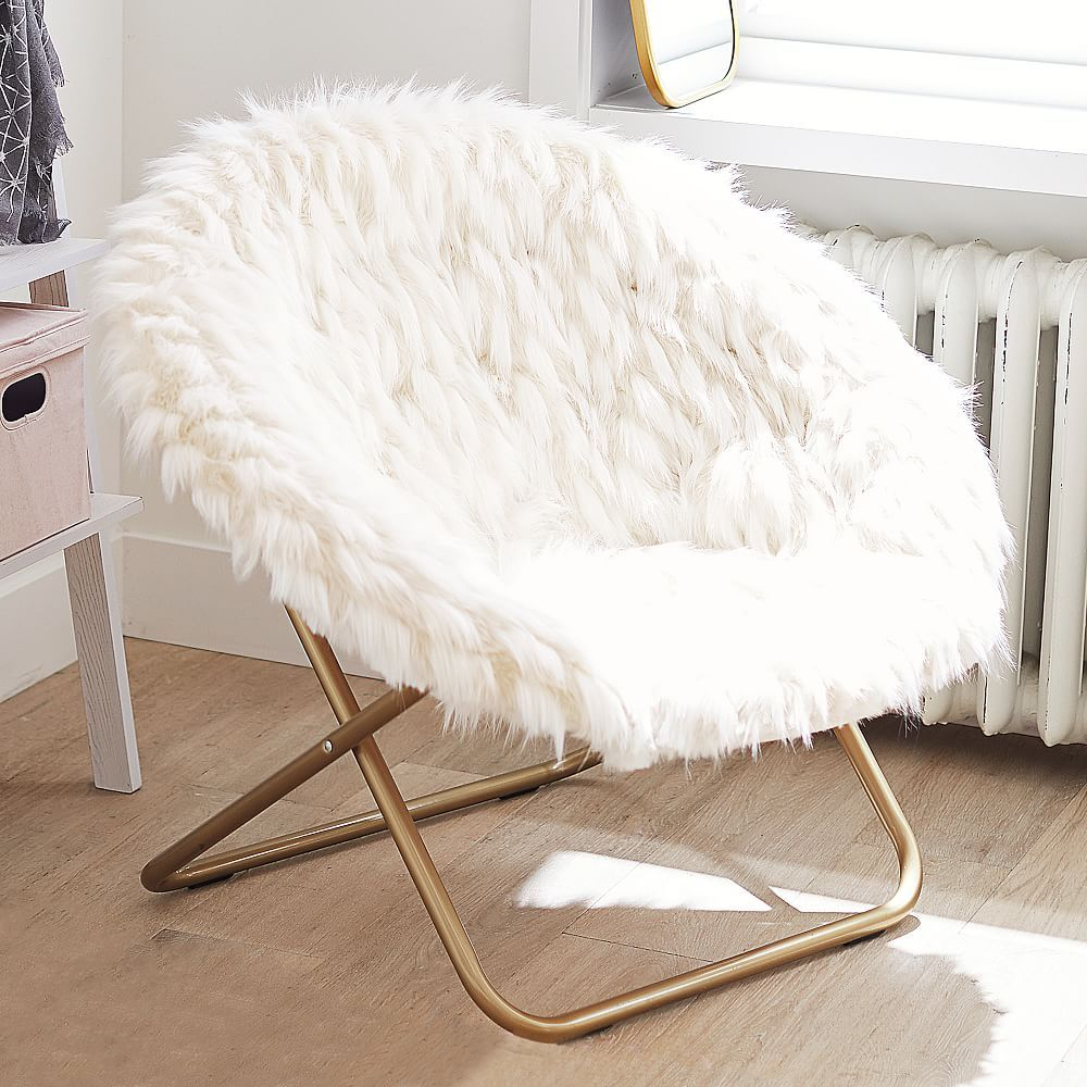 HangARound Chair, Winter Fox FauxFur w/ Gold Base in