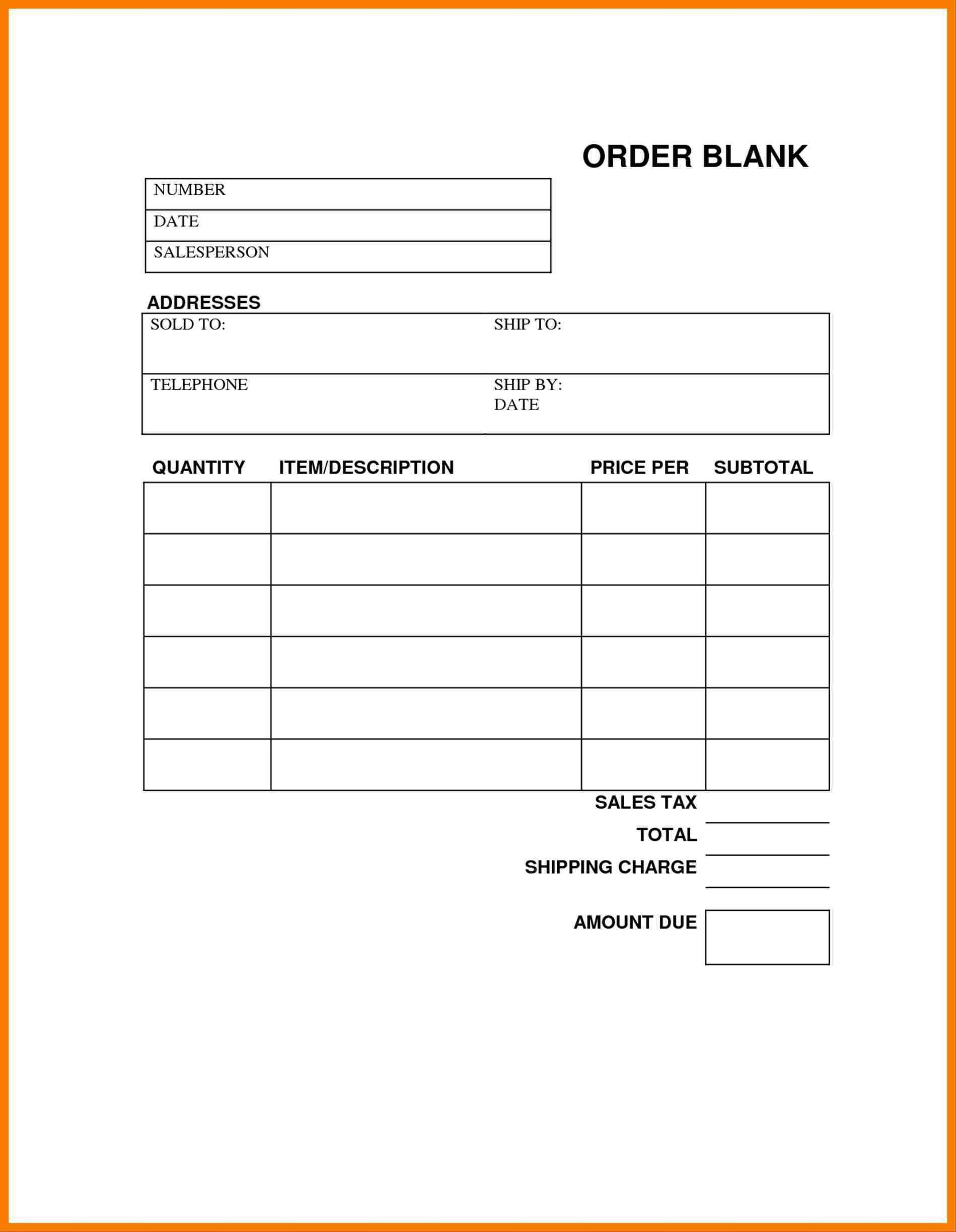 image regarding Free Printable Order Forms named Blank Buy Kinds Templates Totally free Free of charge Tamplate Buy