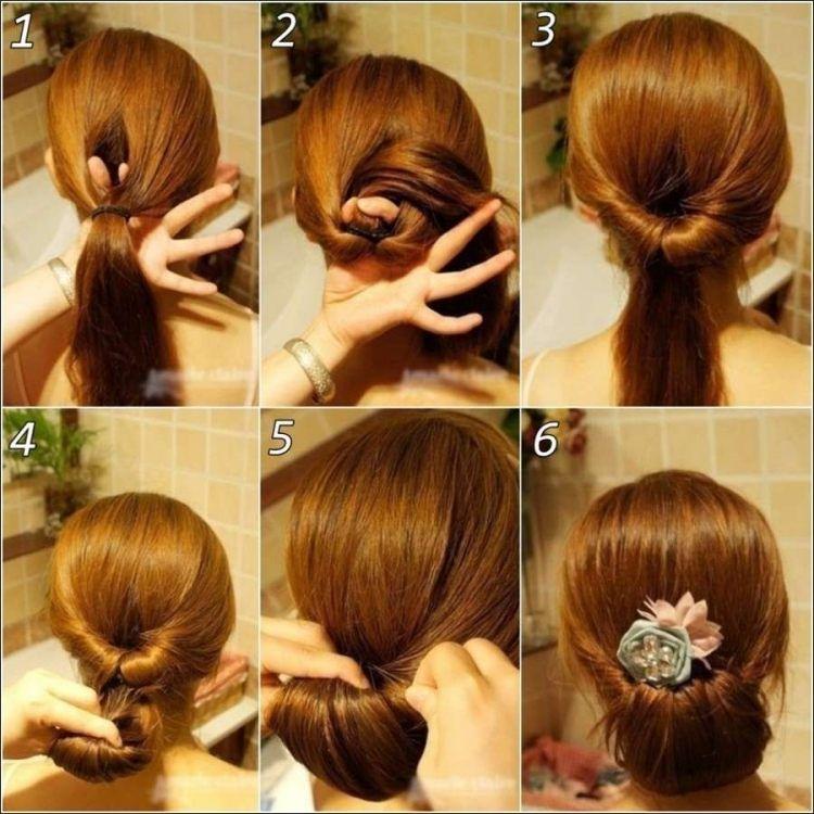 coiffure simple cheveux long chignon bas discret en six étape faciles