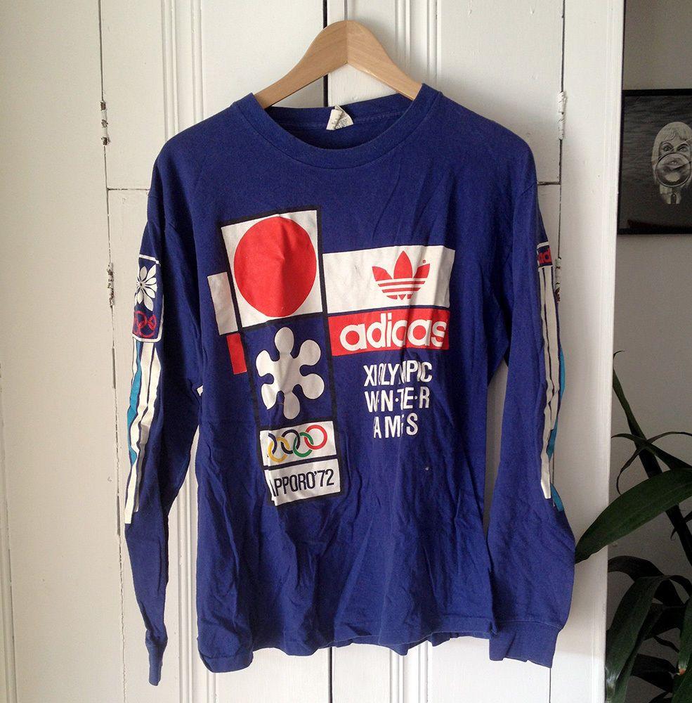 Raro mint vintage 80 'adidas sapporo 1972 olympics l / s t - shirt taglia