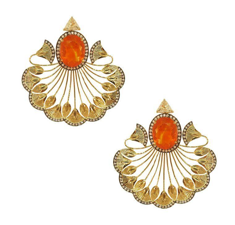 Silvia Furmanovich 18ct gold, diamond and ruby earrings