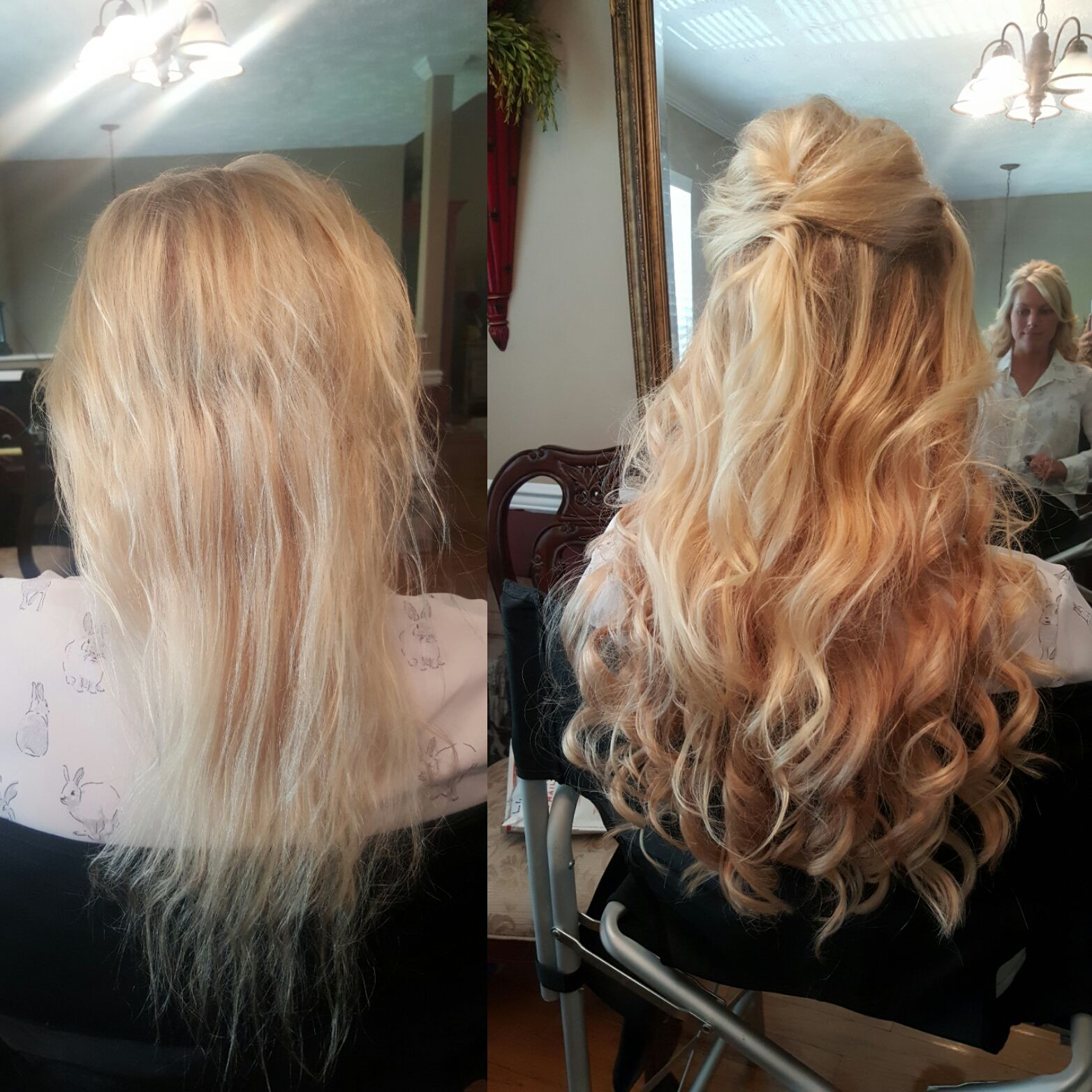 What A Transformation Before And After Using Our Halo Style Hidden Crown Hair Extensions For Hair Extensions Before And After Hair Styles Halo Hair Extensions