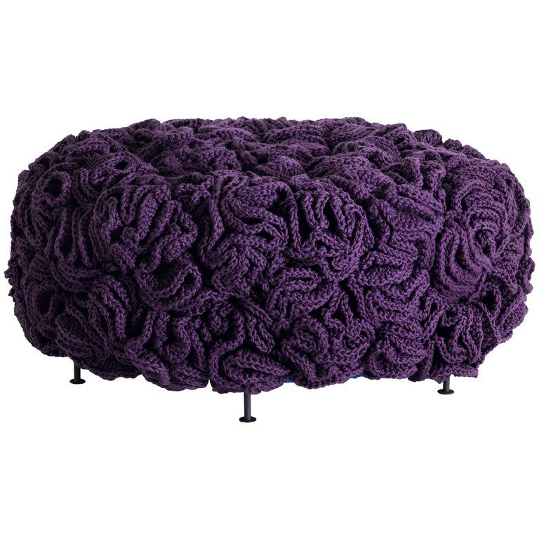 Handmade Crochet Elements Cotton And Polyester Mini Pouf #crochetelements