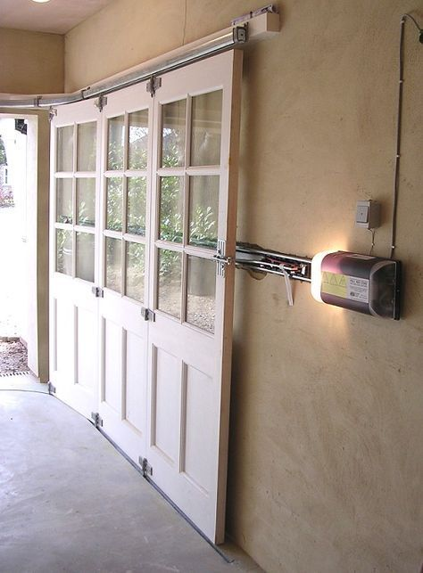 I Love These Sliding Garage Doors To Prevent Blocking Any Ceiling Room Or Light Garage Doors Sliding Garage Doors Garage Decor