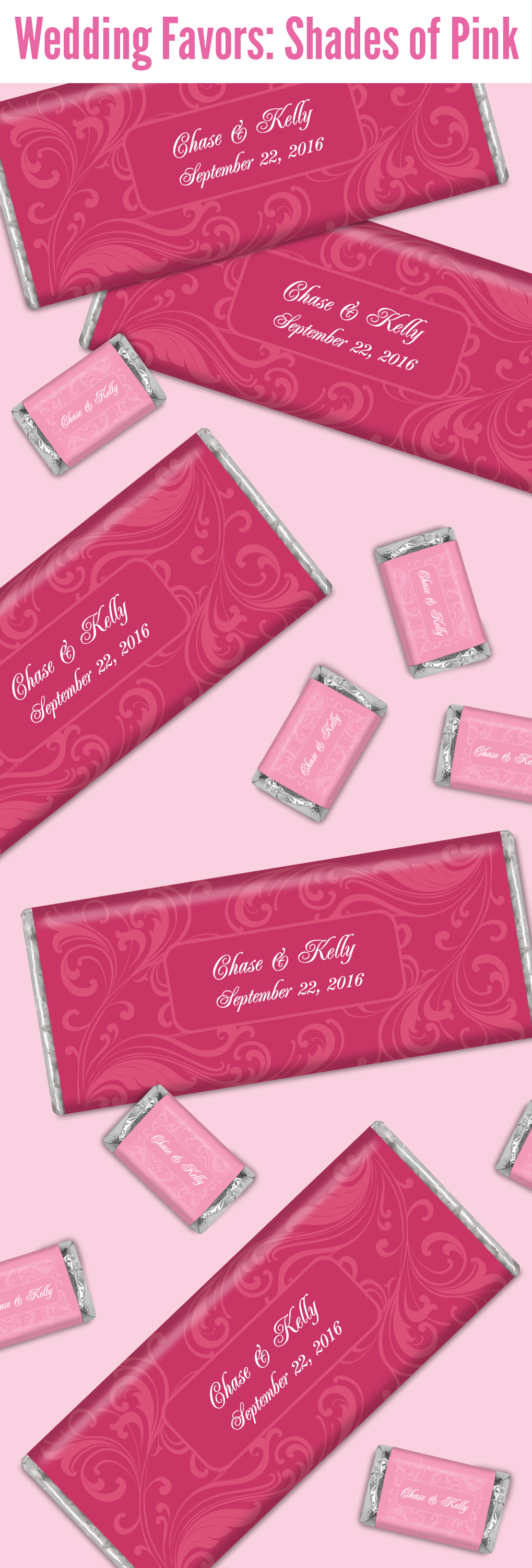 HERSHEY\'S chocolate wedding favors in various shades of pink will be ...