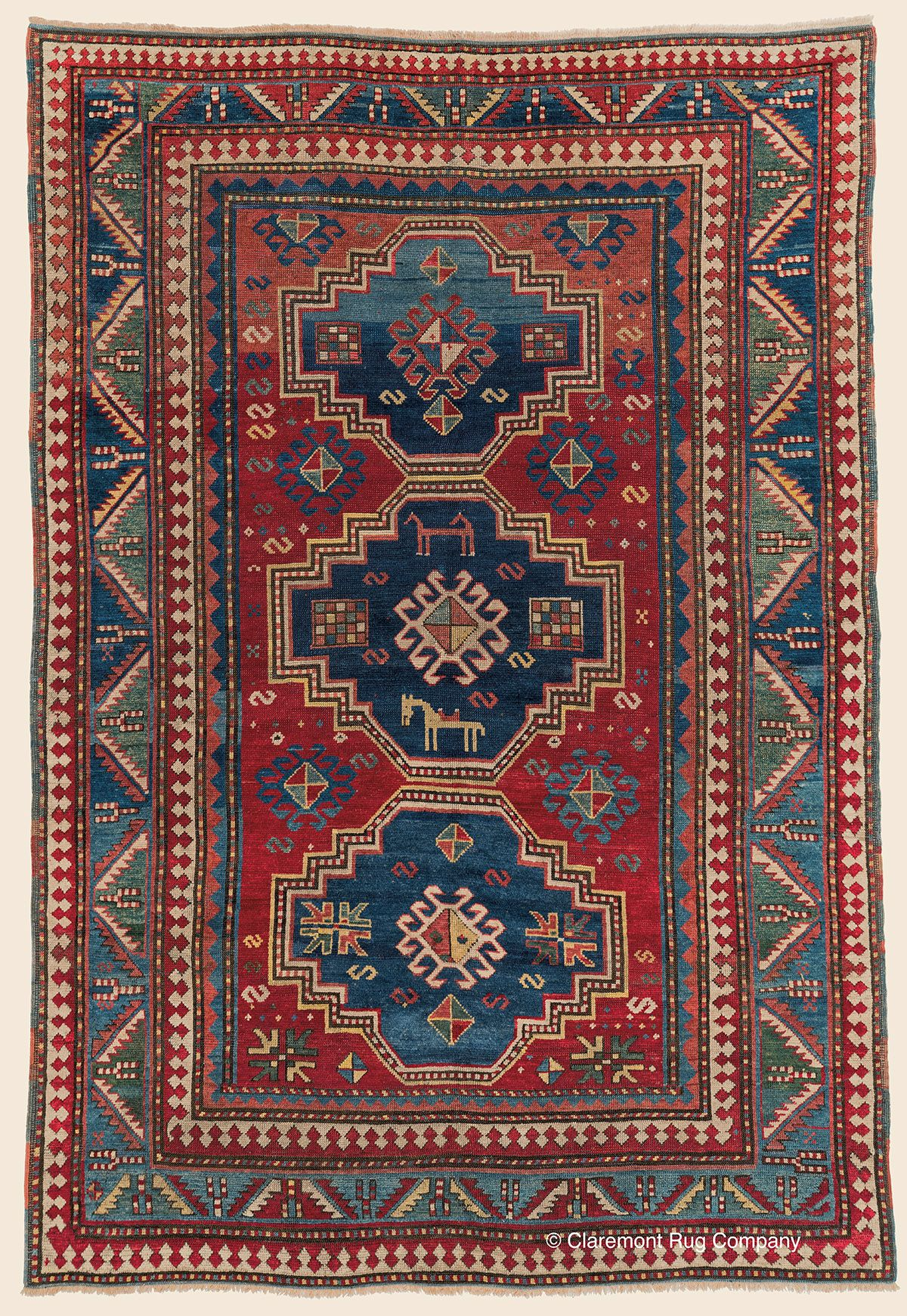 Three Medallion Fachralo Kazak 5 4 X 7 10 3rd Quarter 19th Century Southern Central Caucasi Rugs On Carpet Antique Persian Carpet Claremont Rug Company