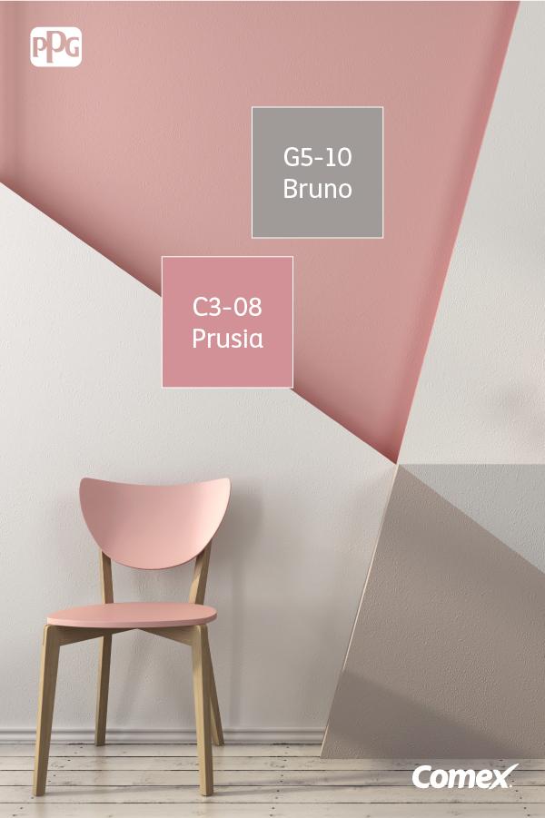 La combinación del rosa con el gris en paredes y muebles tipo ...