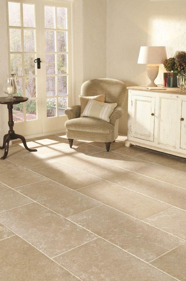 Stacked Stone Tile Fireplace Tile floor living room