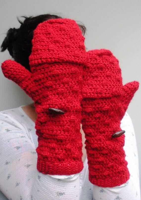 Red convertible Mittens Fingerless Gloves crochet by luvbuzz ...