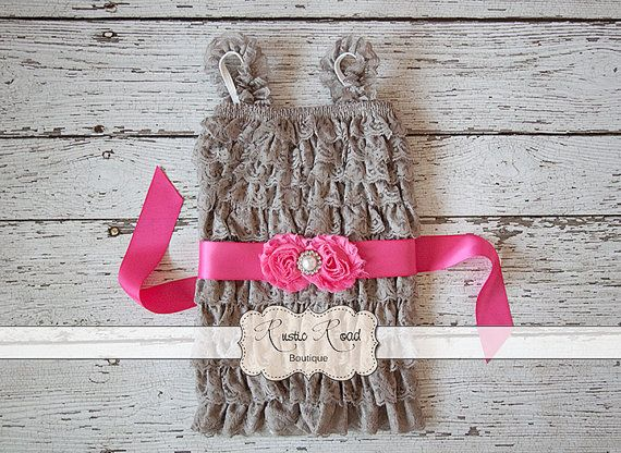 Grey Lace Romper with Sash  CUSTOMIZE RIBBON by RusticRoadBoutique