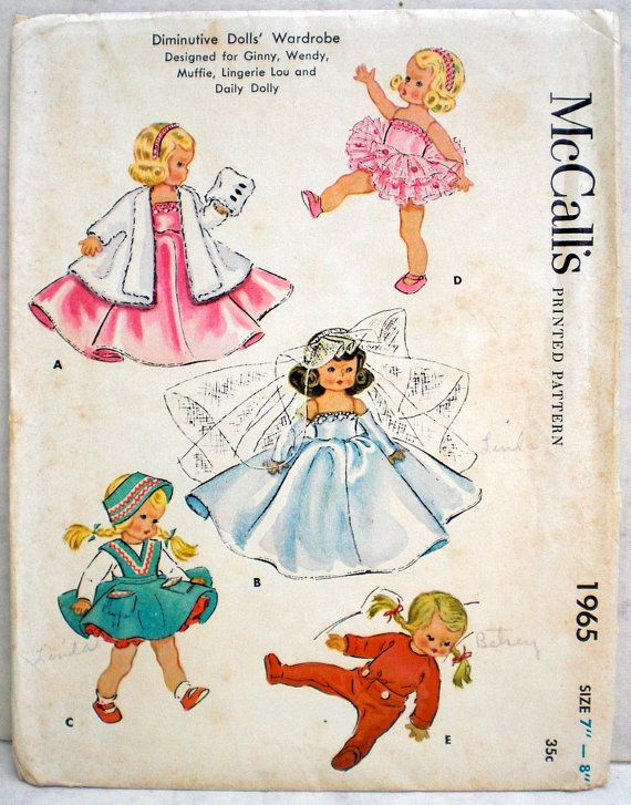 1950s Vintage Doll Clothes Pattern McCall\'s 1965 7 to 8 Inch Doll ...