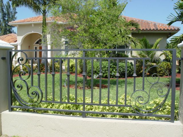 Decorative Steel Fencing i like the double top and bottom rails and the curved accent
