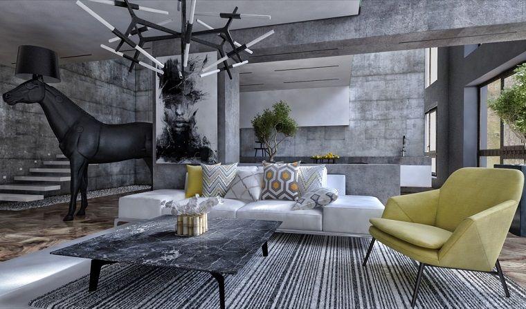 Tavolo Basso Moderno Design.Interni Case Moderne Pareti Colore Grigio Tavolino Basso