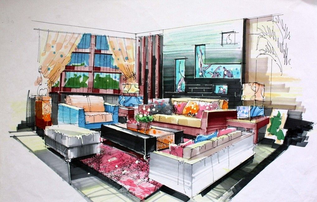 Interior Design Hand Drawings And Hand Draw Interior Design Of Living Room