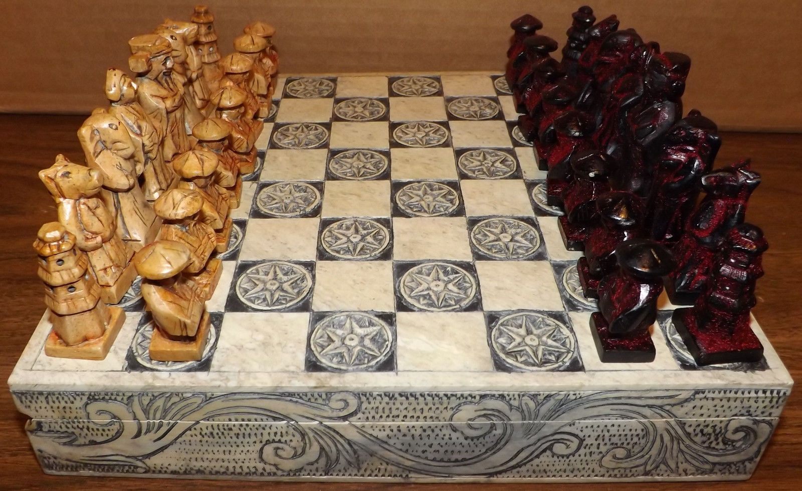 Vintage 1970s chess set ornate stone hand carved pieces asian oriental design oriental design - Ornate chess sets ...