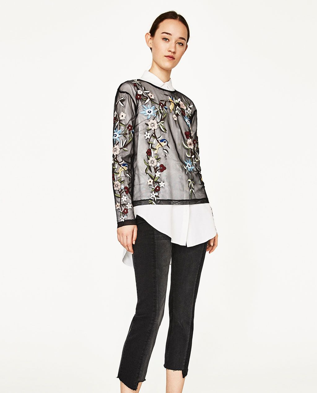 b96f62852d ZARA - WOMAN - EMBROIDERED TULLE T-SHIRT Camisas Mujer Zara