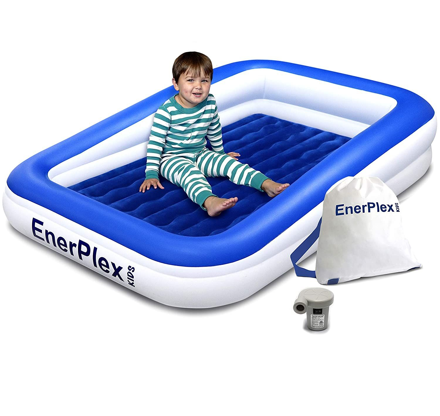 EnerPlex Kids Inflatable Toddler Travel Bed with High ...