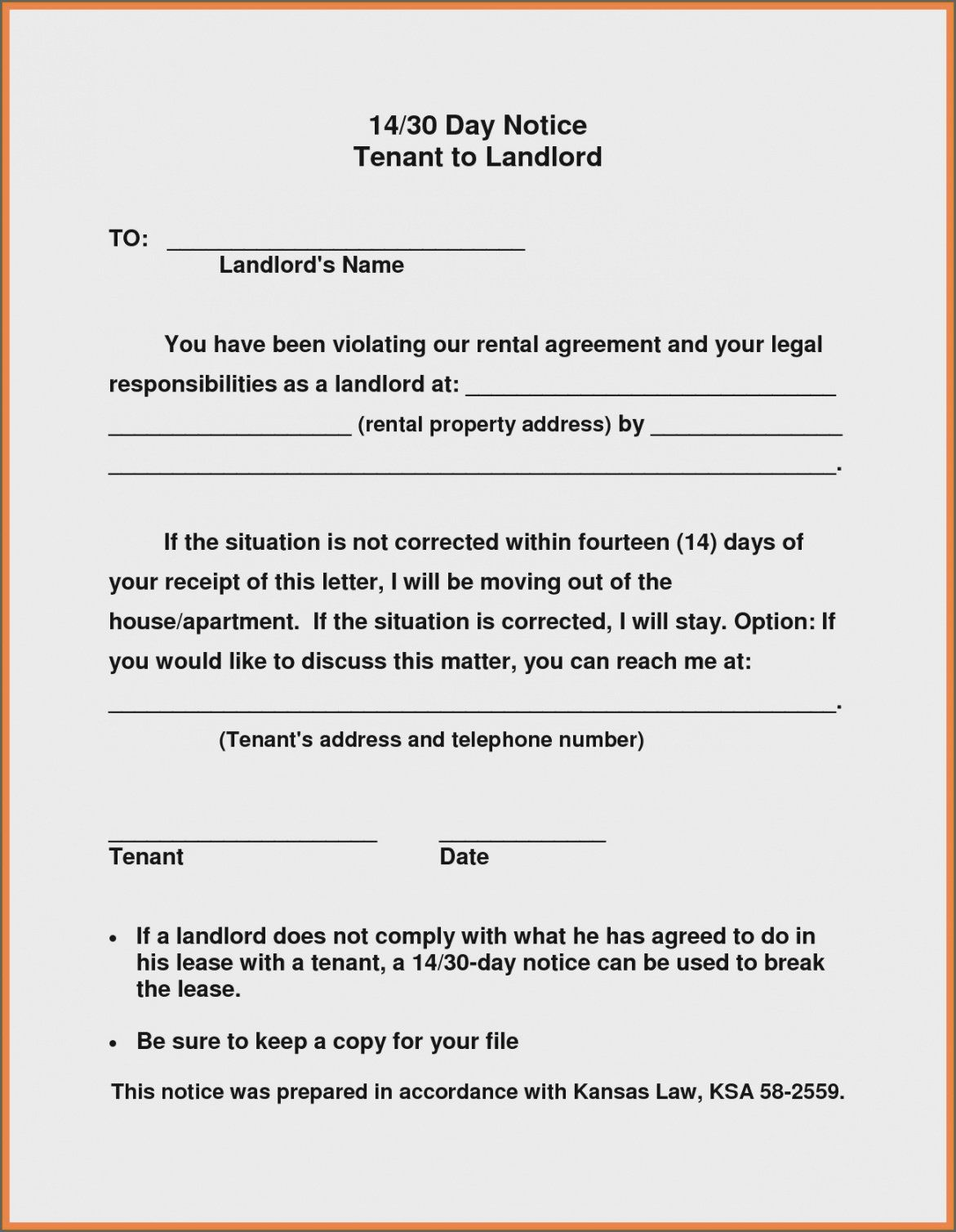 Browse Our Sample of 19 Day Notice To Vacate Landlord To Tenant