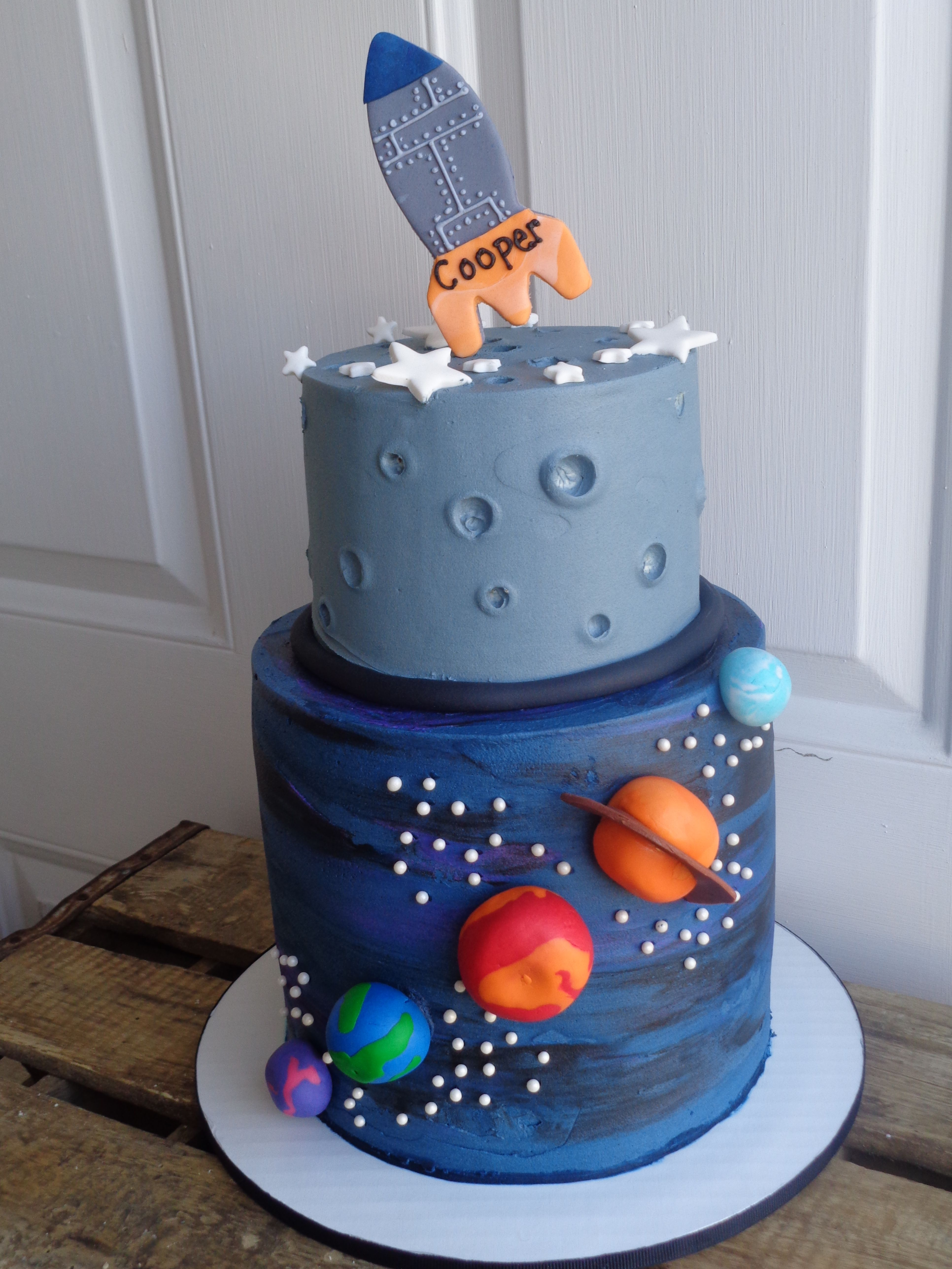 Outerspace Rocketship Themed Cake