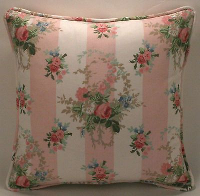 """2 16"""" Laura Ashley English Country Fabric Isabelle Pink Rose Designer Pillows"""