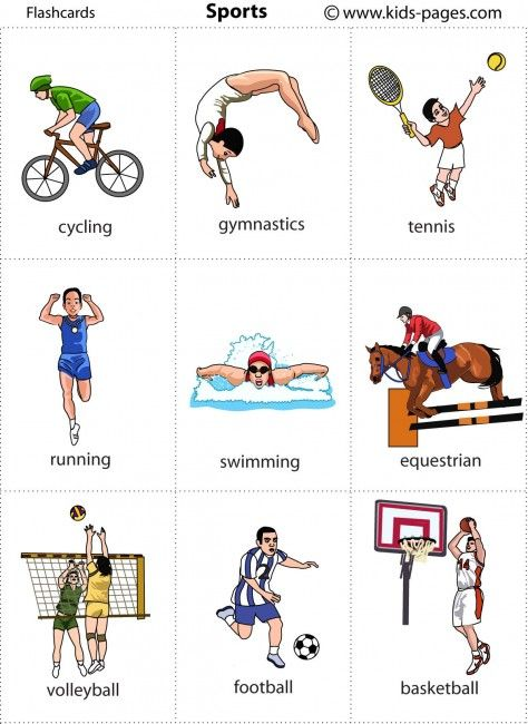 Kids Pages Flashcards Sports English Pinterest Imparare